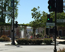 fountain in downtown Livermore CA located on the corner of S. Livermore Ave. and First Street